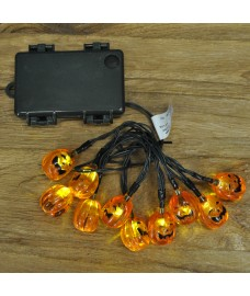 10 LED Halloween Pumpkin String Lights (Battery) by Smart Solar
