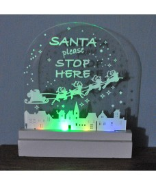 Christmas Xmas LED Illuminated Sign Santa Please Stop Here by Kingfisher