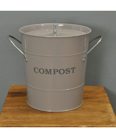 Enamel Metal Compost Caddy in Flint Colour by Garden Trading