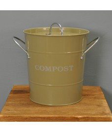 Enamel Metal Compost Caddy in Gooseberry Colour by Garden Trading