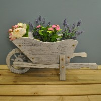 Whitewashed Woodland Wheelbarrow Garden Planter by Smart Garden