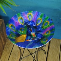 Glass Peacock Wild Bird Bath by Smart Solar