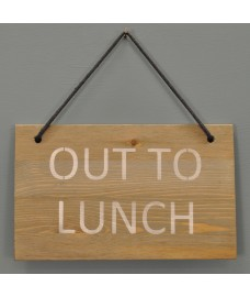 Wooden Out To Lunch Hanging Sign by Garden Trading