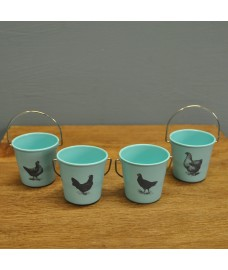 Egg Holder Cup Buckets - Vintage Blue with Hens by Eddingtons