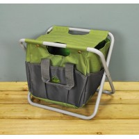 Garden Tool Storage Seat in Green & Grey by Fallen Fruits