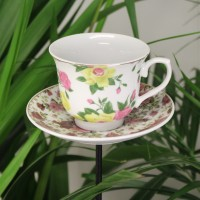 Vintage China Teacup Bird Feeder On A Pole by Fallen Fruits