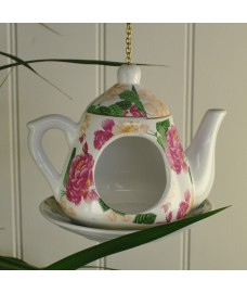 Vintage China Hanging Tea Pot Bird Feeder by Fallen Fruits