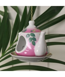 Vintage China Floral Teapot Bird Feeder by Fallen Fruits