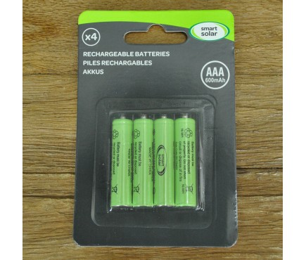 4 x AAA Rechargeable Batteries for Solar Lights by Smart Solar