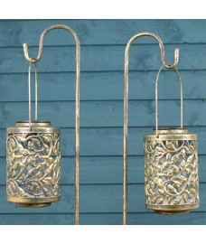 Verdigris Solar Powered Lanterns with Shepherds Crook by Smart Solar