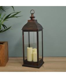 Giant Copper Battery Operated Candle Lantern by Smart Solar