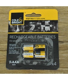 4 x 1/3 AAA Rechargeable Batteries for Solar Lights by Gardman