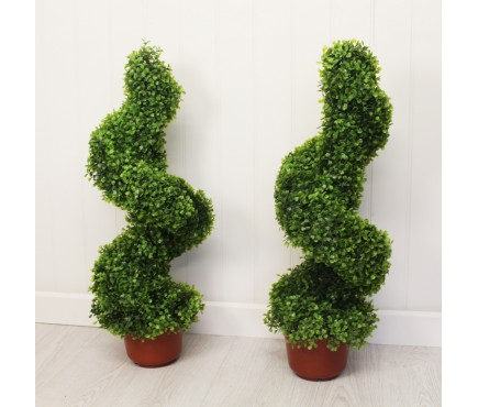 Pair of Leaf Effect Artificial Topiary Swirl Shaped Trees (135cm) by Gardman
