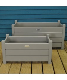 Wooden Rectangular Trough Garden Planters in Grey (Set of 2) by Fallen Fruits