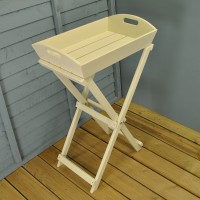 Cream Wooden Butlers Tray Side Table by Fallen Fruits