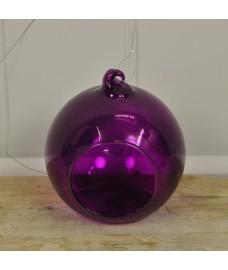 Purple Glass Hanging Bauble Tealight Holders (Set of 4) by Gardman