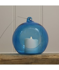 Glass Hanging Bauble Tealight Holder in Blue by Gradman