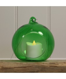 Glass Hanging Bauble Tealight Holder in Green by Gardman