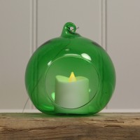 Green Glass Hanging Bauble Tealight Holders (Set of 4) by Gardman