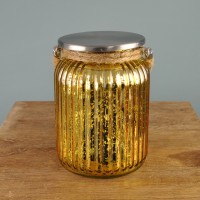 Gold Stellar Battery Operated Jar Lantern by Smart Solar