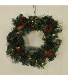Festive Christmas Pre-Lit Wreath 20 LEDs (Battery) by Kingfisher