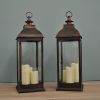 Set of 2 x Giant Copper Battery Operated Candle Lanterns by Smart Solar
