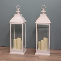 Set of 2 x Giant Cream Battery Operated Candle Lanterns by Smart Solar