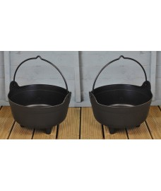 Set of 2 x Large Plastic Cauldron Shaped Planters by Garland