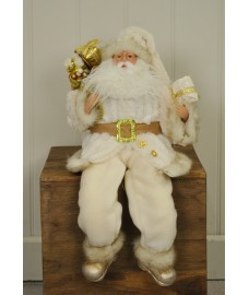 Sitting Father Christmas Figure Decoration Ornament in White