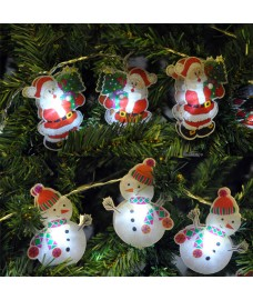 Battery Operated Santa or Snowman LED String Lights