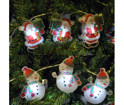 Battery Operated Santa or Snowman Christmas LED String Lights