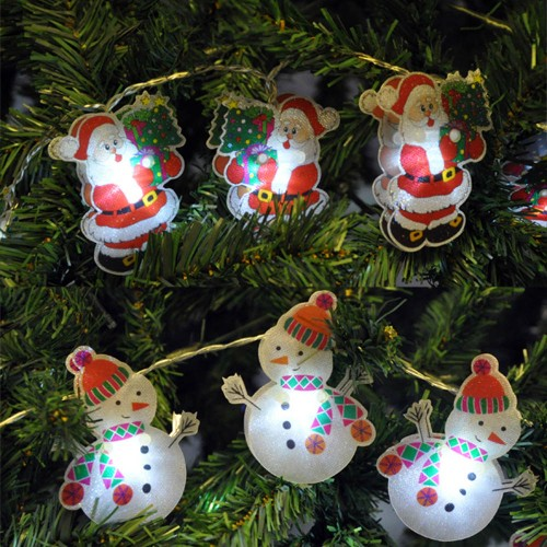 Christmas Led String Lights.Battery Operated Santa Or Snowman Christmas Led String Lights