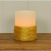 Battery Operated Gold Braided LED Candle - 10cm by Gardman