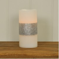 Battery Operated Silver Sparkle Flameless LED Candle 10cm by Gardman