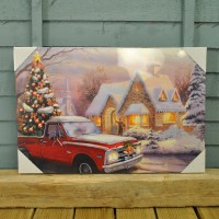 Christmas LED Canvas Picture Scene Truck with Tree Pre Lit Decoration