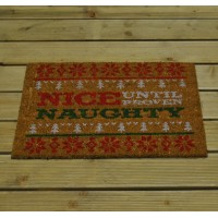 Christmas Nice Until Proven Naughty Coir Doormat by Gardman