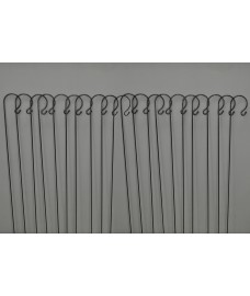 20 x Shepherds Crook Black Metal Garden Border Hooks (1m)