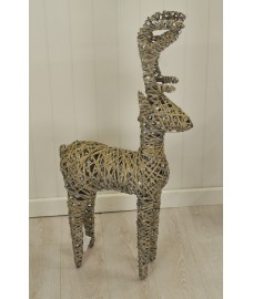 Standing Washed Rattan Christmas Reindeer 120cm Tall