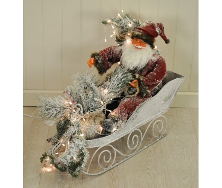 Snowy Santa Claus in his Sleigh Decoration - 80cm with 100 LEDs