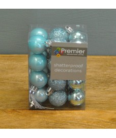 Ice Blue Decorated 3cm Bauble Decorations (Set of 24) by Premier