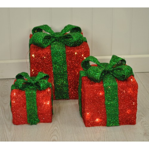 set of 3 led light up red christmas gift boxes by kingfisher