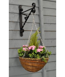 Artificial Azalea Topiary Hanging Basket (25cm)