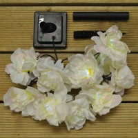 10 White Rose Flower LED String Lights (Solar) by Smart Solar