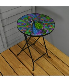 Folding Drinks Side Garden Patio Table Peacock Design by Smart Garden