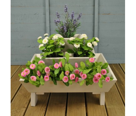 Wooden Three Tier Pyramid Planter in Cream by Fallen Fruits