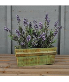 Wooden Trough Planter Green Washed by Rustic Garden