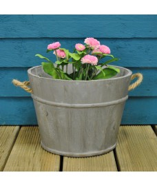 Half Barrel Garden Planter Grey Washed by Rustic Garden