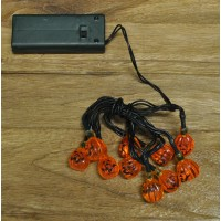 10 LED Halloween String Lights Pumpkin Design (Battery) by Premier