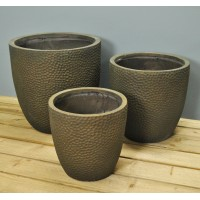 High Round Copper Planters (Set of Three) by Rustic Garden