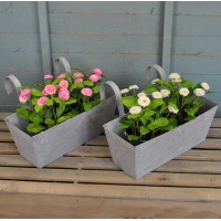 Set of 2 Zinc Balcony Hanging Planters by Fallen Fruits